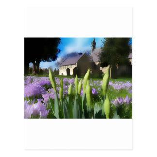Church with artistic blur post card