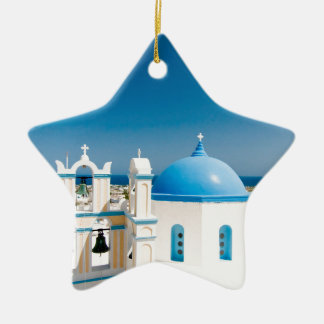 Churches With Blue Roofs Ceramic Ornament
