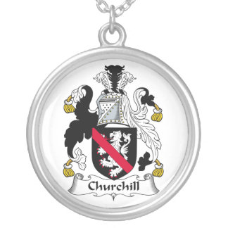 Churchill Family Crest Round Pendant Necklace