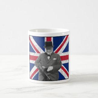 Churchill Posing With The British Flag Basic White Mug