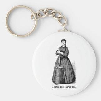 Churnin' Love (black text for light shirts) Basic Round Button Key Ring