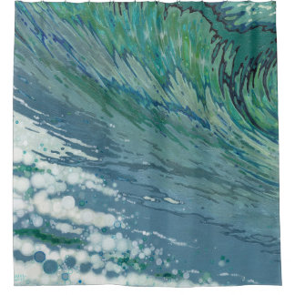 Churning Wave Coastal Shower Bath Curtain Juul