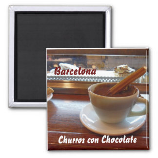 Churros con Chocolate, Barcelona Square Magnet
