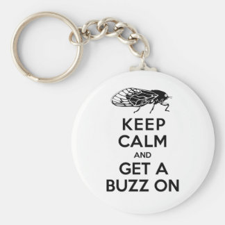 Cicadas - Keep Calm and Get a Buzz On - Magicicada Key Ring