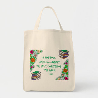 Cicero - If you have a garden and library.. Grocery Tote Bag