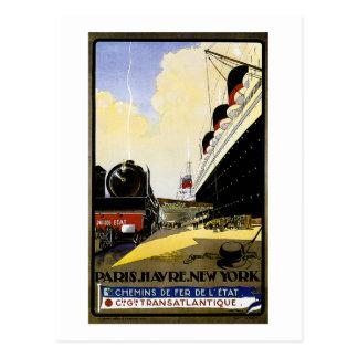 Cie Gie Transatlantique Vintage Travel Ad Postcard