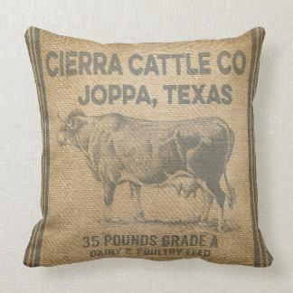 CIERRA CATTLE CO JOPPA TEXAS burlap Styled pillow