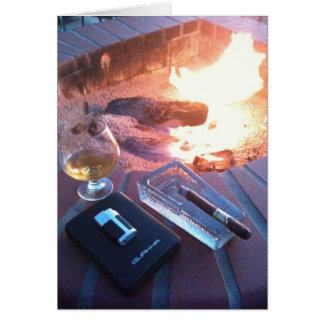 Cigar and a Drink by the Fire Greeting Card