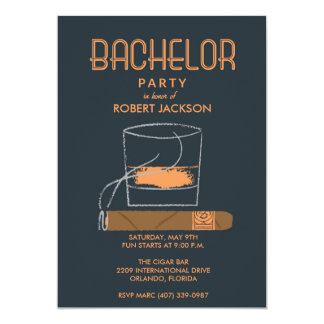 Cigar and Whisky Bachelor Party Invitation