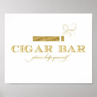 Cigar Bar Sign - Faux Gold Foil Shimmer