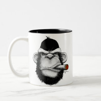 Cigar Monkey Two-Tone Coffee Mug