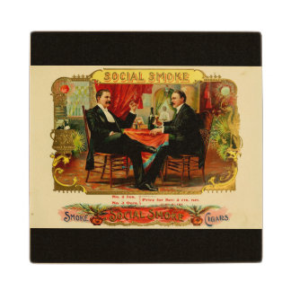 Cigar Smoke Vintage Label 2 Men Wooden Coaster