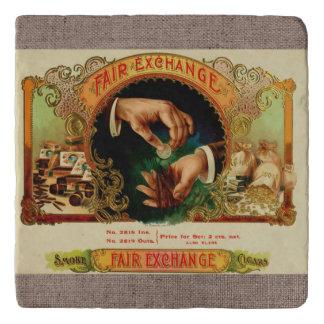 Cigar Smoke Vintage Label Coin Money Hand Exchange Trivet