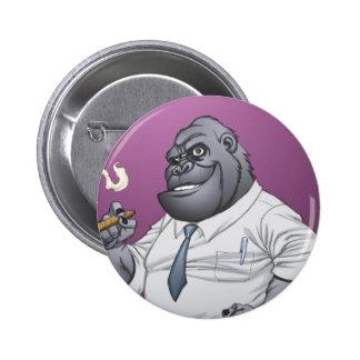 Cigar Smoking Business Man Boss Gorilla by Al Rio Pin