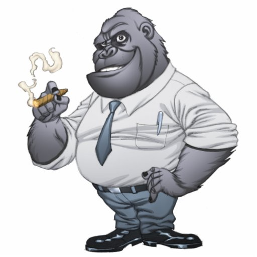 Cigar Smoking Business Man Boss Gorilla by Al Rio Photo Cut Out