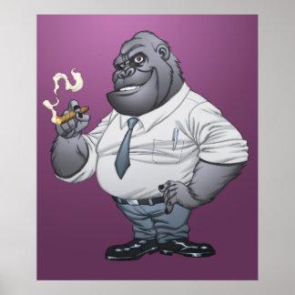 Cigar Smoking Business Man Boss Gorilla by Al Rio Poster