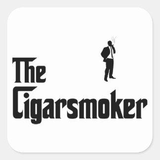 Cigar Smoking Square Sticker