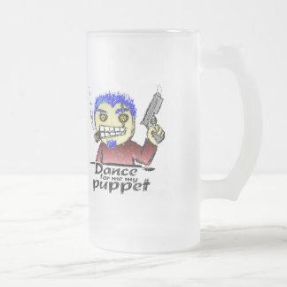 Cigar Smoking Thug With a Gun Frosted Glass Beer Mug