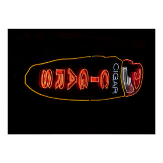 Cigar Store Neon Sign Poster