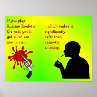 Cigarette Smoking - Russian Roulette Comparison Poster