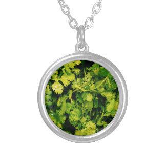 Cilantro / Coriander Leaves Silver Plated Necklace