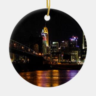 Cincinnati by Night Ceramic Ornament