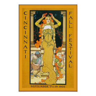 Cincinnati Fall Festival ~ Vintage Travel Poster