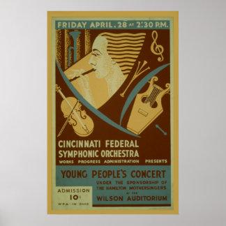Cincinnati Federal Symphonic Orchestra Vintage Poster