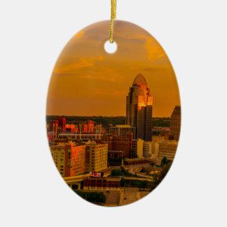 Cincinnati Golden Ceramic Ornament