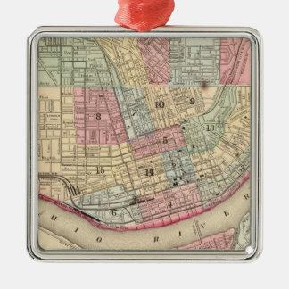 Cincinnati Map by Mitchell Metal Ornament