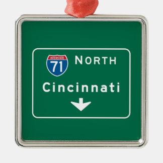 Cincinnati, OH Road Sign Metal Ornament