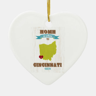 Cincinnati, Ohio Map – Home Is Where The Heart Is Christmas Ornament