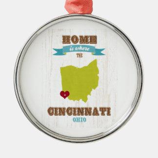 Cincinnati, Ohio Map – Home Is Where The Heart Is Metal Ornament