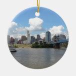 Cincinnati, Ohio skyline with the Ohio River Round Ceramic Decoration