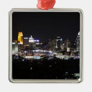 Cincinnati skyline at night metal ornament