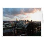 Cincinnati skyline at sunset greeting cards