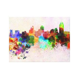 Cincinnati skyline in watercolor background canvas print