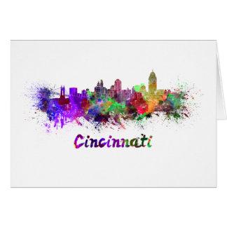Cincinnati skyline in watercolor card