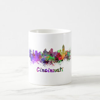 Cincinnati skyline in watercolor coffee mug