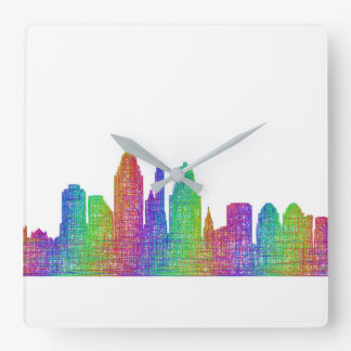 Cincinnati skyline square wall clock