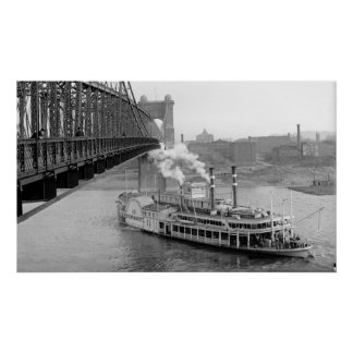 Cincinnati Suspension Bridge and Steamboat 1906 BW Poster