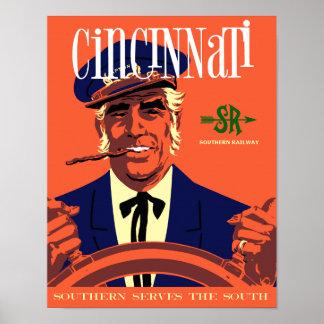 Cincinnati , Vintage style railroad travel poster