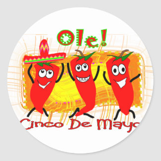 Cinco de Mayo 3 Dancing Chilli Peppers-Adorable Round Sticker