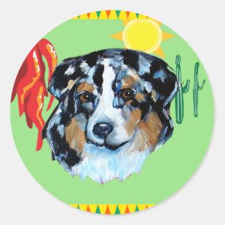 CINCO de MAYO AUSTRALIAN SHEPHERD Round Sticker
