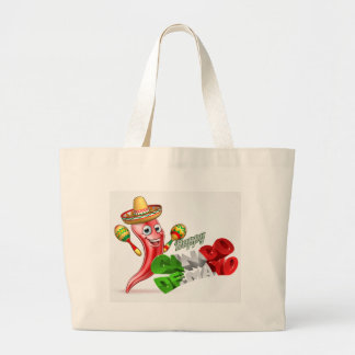 Cinco De Mayo Chilli Pepper Design Large Tote Bag