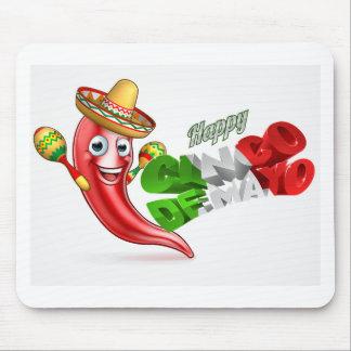 Cinco De Mayo Chilli Pepper Poster Design Mouse Pad