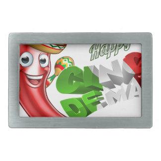 Cinco De Mayo Chilli Pepper Poster Design Rectangular Belt Buckles