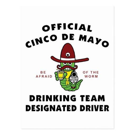 Cinco de Mayo Drinking Team Designated Driver Postcards