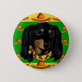 Cinco de Mayo Long Haired Black  Doxie 6 Cm Round Badge