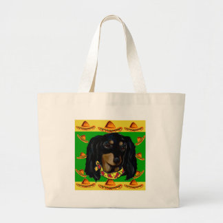 Cinco de Mayo Long Haired Black  Doxie Large Tote Bag